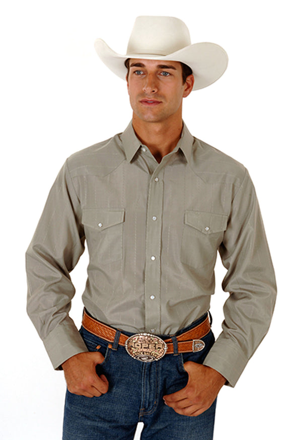 MENS LODEN TONE ON TONE LONG SLEEVE SNAP WESTERN SHIRT