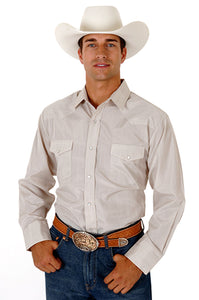 MENS TAN TONE ON TONE LONG SLEEVE SNAP WESTERN SHIRT