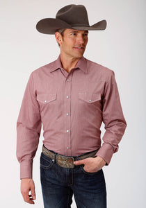 MENS WINE CROSSHATCH TONE ON TONE LONG SLEEVE SNAP WESTERN SHIRT TALL FIT