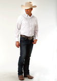 MENS OPTIC WHITE SOLID LONG SLEEVE SNAP WESTERN SHIRT TALL FIT