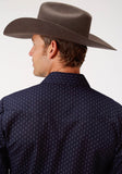 MENS NAVY AND GREY DOT PRINT LONG SLEEVE SNAP WESTERN SHIRT TALL FIT