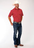 MENS RED SOLID BROADCLOTH SHORT SLEEVE SNAP WESTERN WESTERN