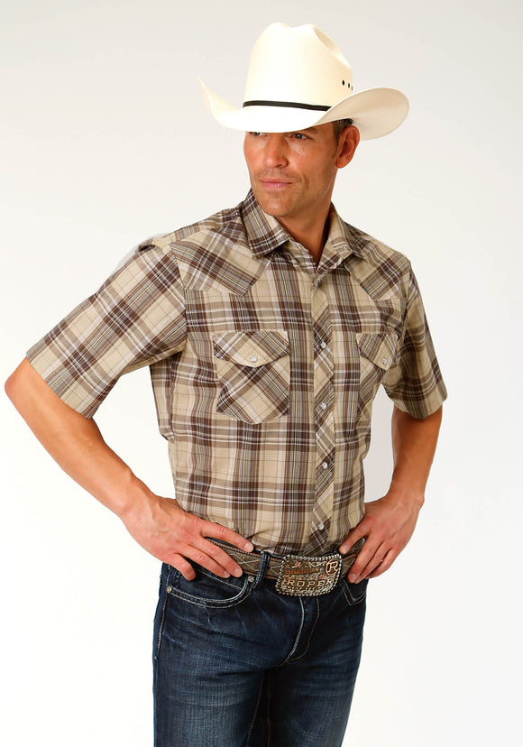 MENS BROWN AND TAN PLAID SHORT SLEEVE SNAP WESTERN SHIRT