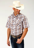 MENS BLUE TAN AND WHITE PLAID SHORT SLEEVE SNAP WESTERN SHIRT