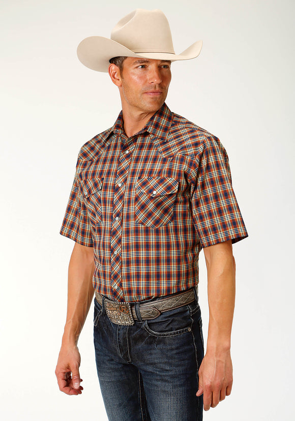 MENS RUST AND NAVY PLAID SHORT SLEEVE SNAP WESTERN SHIRT