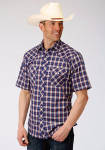 MENS NAVY RED AND TAN PLAID SHORT SLEEVE SNAP WESTERN WESTERN