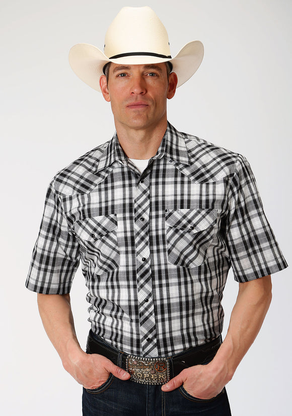 MENS BLACK AND WHITE PLAID SHORT SLEEVE SNAP WESTERN WESTERN