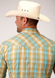 MENS GREEN AND TURQUOISE PLAID SHORT SLEEVE SNAP WESTERN WESTERN