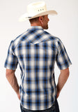 MENS BLUE BLACK AND CREAM PLAID SHORT SLEEVE SNAP WESTERN WESTERN