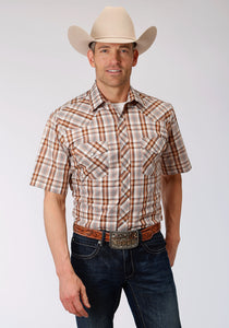 MENS BROWN RUST AND CREAM PLAID SHORT SLEEVE SNAP WESTERN WESTERN