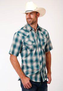 MENS TEAL TAN CREAM AND BLACK PLAID SHORT SLEEVE SNAP WESTERN WESTERN