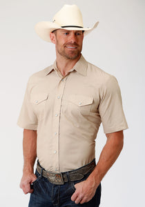 MENS TAN DIAMOND TONE ON TONE SHORT SLEEVE SNAP WESTERN WESTERN