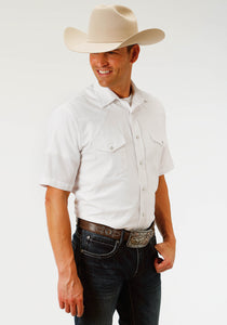 MENS WHITE DIAMOND TONE ON TONE SHORT SLEEVE SNAP WESTERN SHIRT