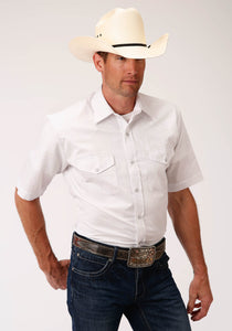 MENS WHITE CROSS-STITCH TONE ON TONE SHORT SLEEVE SNAP WESTERN WESTERN