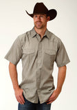 MENS GREEN TONE ON TON SHORT SLEEVE SNAP WESTERN SHIRT