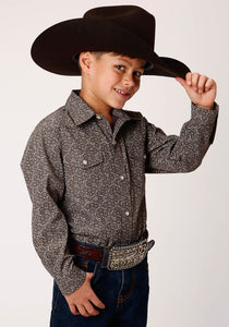 BOYS OLIVE AND CREAM FLORAL PRINT LONG SLEEVE SNAP WESTERN SHIRT