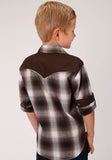 BOYS BLACK BROWN AND WHITE PLAID LONG SLEEVE SNAP WESTERN SHIRT