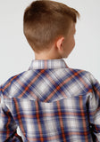 BOYS ROYAL BLUE AND RUST PLAID LONG SLEEVE SNAP WESTERN SHIRT