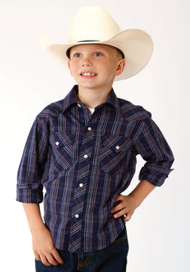BOYS NAVY BLUE AND RED WINDOWPANE PLAID LONG SLEEVE SNAP WESTERN SHIRT