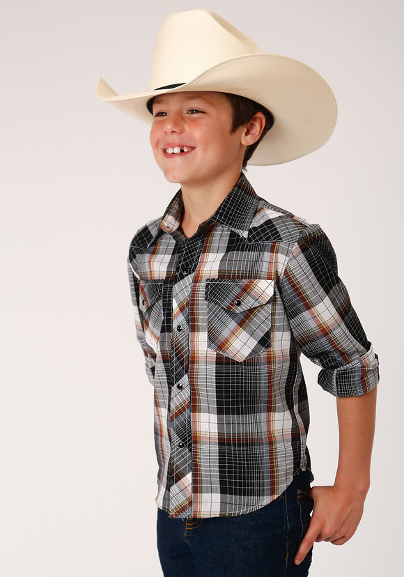 BOYS BLACK WHITE AND RUST WINDOWPANE PLAID LONG SLEEVE SNAP WESTERN SHIRT