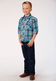 BOYS TURQUOISE BLACK AND GREY PLAID LONG SLEEVE SNAP WESTERN SHIRT