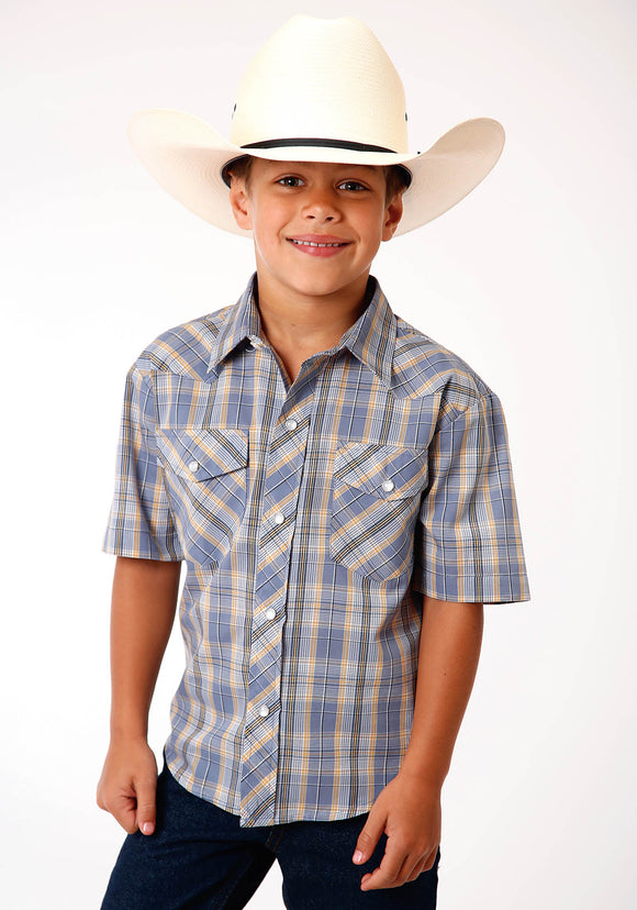 BOYS STEEL GOLD WHITE AND BLACK PLAID SHORT SLEEVE SNAP WESTERN WESTERN