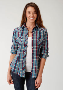 WOMENS MULTI BLUE AND WIND PLAID LONG SLEEVE SNAP WESTERN SHIRT