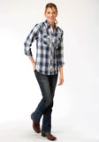 WOMENS NAVY GREY AND BLUE LONG SLEEVE SNAP WESTERN SHIRT