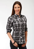 WOMENS BLACK GREY AND WHITE PLAID LONG SLEEVE SNAP WESTERN SHIRT