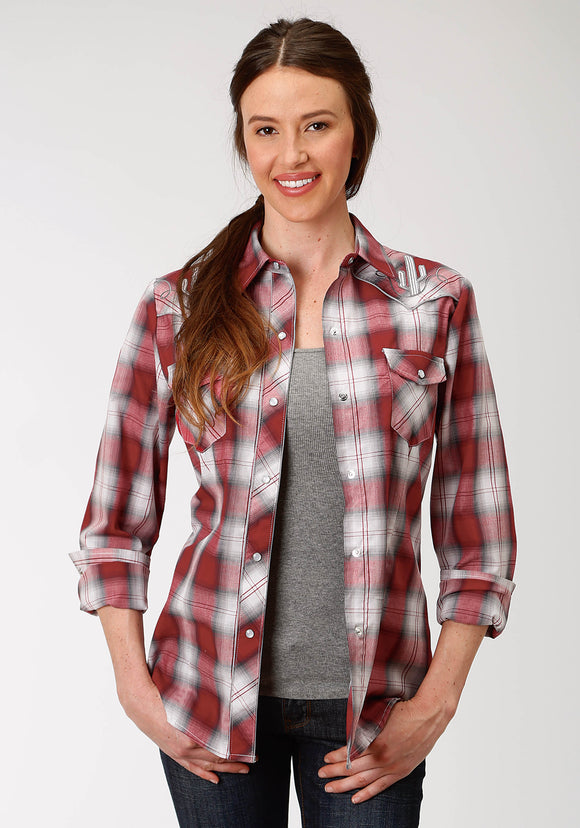 WOMENS RED BLACK AND GREY PLAID LONG SLEEVE SNAP WESTERN SHIRT