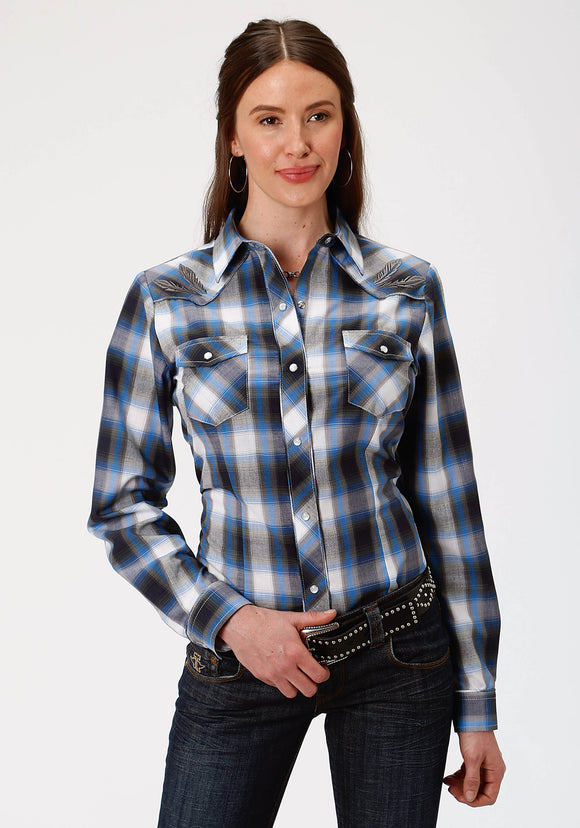 WOMENS SKY BLUE NAVY AND OLIVE PLAID LONG SLEEVE SNAP WESTERN SHIRT