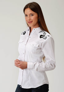 WOMENS WHITE TONE ON TONE HORSESHOES LONG SLEEVE SNAP WESTERN SHIRT
