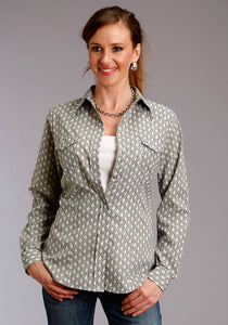 WOMENS GREY AND WHITE PAISLEY PRINT LONG SLEEVE SNAP WESTERN SHIRT