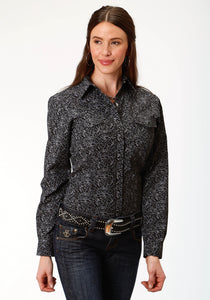 WOMENS BLACK FLORAL PRINT LONG SLEEVE SNAP WESTERN SHIRT