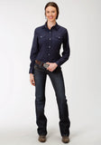 WOMENS NAVY AND GREY DOT PRINT LONG SLEEVE SNAP WESTERN SHIRT