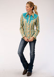 WOMENS GREEN AND TURQUOISE PLAID LONG SLEEVE SNAP WESTERN SHIRT