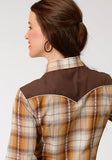 WOMENS RUST AND CREAM PLAID LONG SLEEVE SNAP WESTERN SHIRT