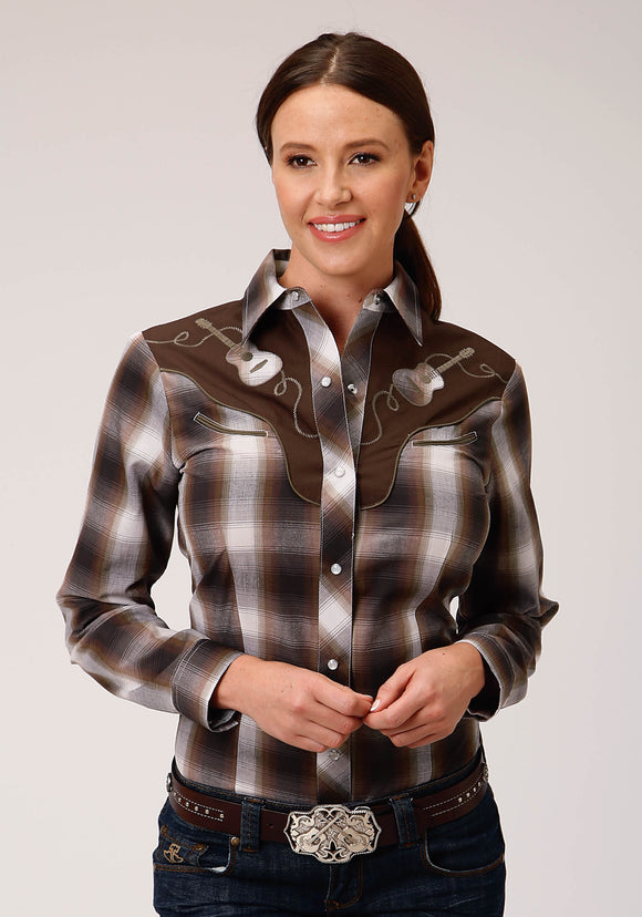 WOMENS BLACK BROWN AND WHITE PLAID LONG SLEEVE SNAP WESTERN SHIRT