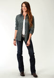WOMENS GREY SOLID LONG SLEEVE SNAP WESTERN SHIRT