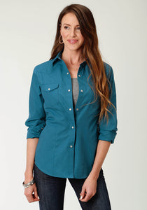 WOMENS TEAL SOLID LONG SLEEVE SNAP WESTERN SHIRT