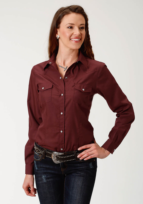 WOMENS WINE SOLID LONG SLEEVE SNAP WESTERN SHIRT