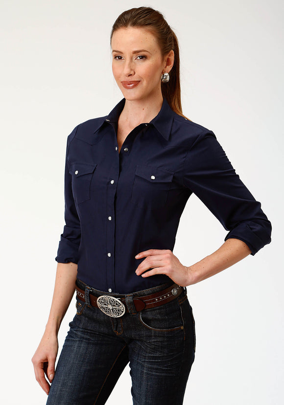 WOMENS BLUE SOLID LONG SLEEVE SNAP WESTERN SHIRT