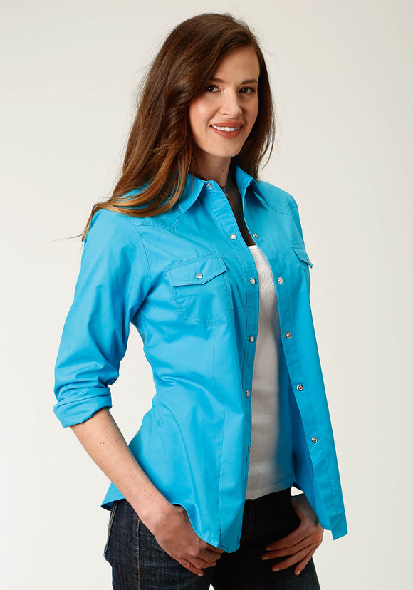 WOMENS TURQUOISE SOLID LONG SLEEVE SNAP WESTERN SHIRT