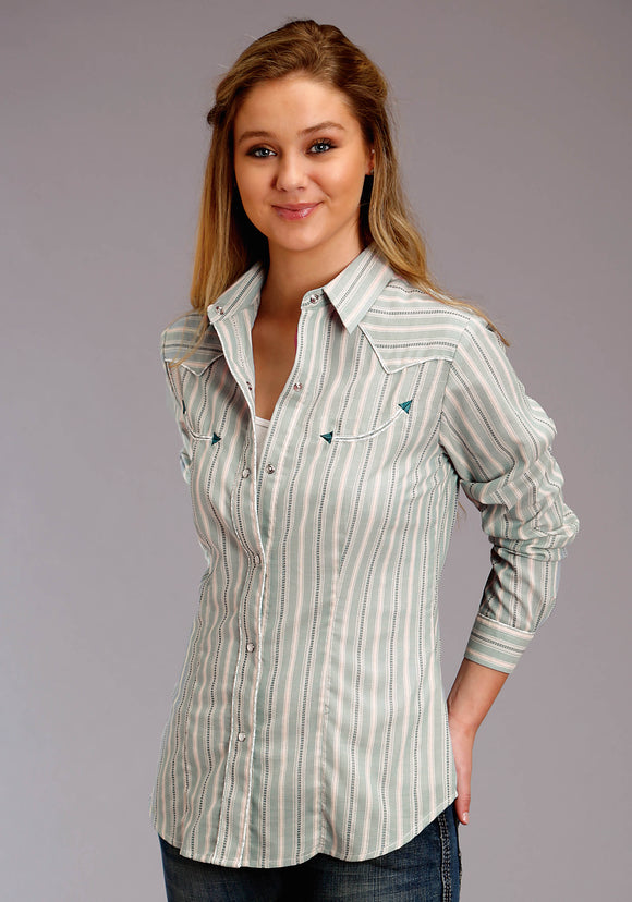 WOMENS BLUE AND YELLOW STRIPE LONG SLEEVE SNAP WESTERN SHIRT