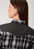 WOMENS BLACK GREY AND GREEN PLAID LONG SLEEVE SNAP WESTERN SHIRT