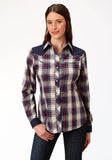 WOMENS BLUE CREAM AND RED PLAID LONG SLEEVE SNAP WESTERN SHIRT