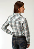 WOMENS TEAL BLACK AND CREAM PLAID LONG SLEEVE SNAP WESTERN SHIRT