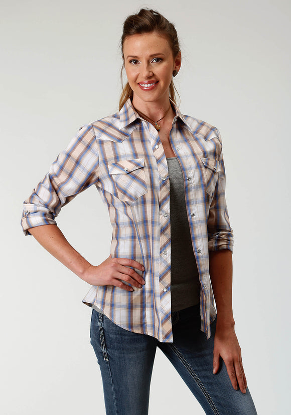 WOMENS BLUE TAN AND WHITE PLAID LONG SLEEVE SNAP WESTERN SHIRT