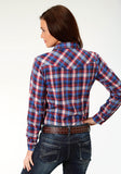 WOMENS RED NAVY AND BRIGHT BLUE PLAID LONG SLEEVE SNAP WESTERN SHIRT