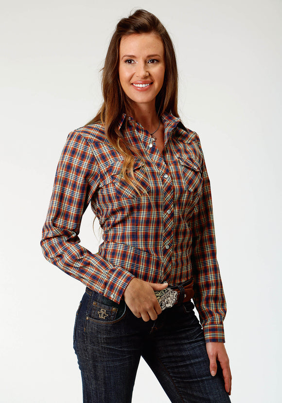 WOMENS RUST AND BLUE PLAID LONG SLEEVE SNAP WESTERN SHIRT